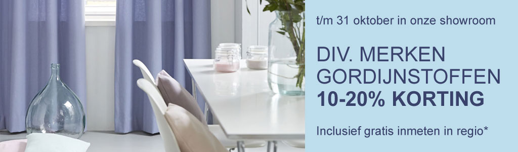 Gordijnstoffen 10-20% Korting