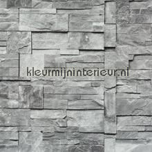 Geblokte stenen grijs tapet BN Wallcoverings Collected 47511