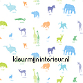 Aparte jungle dieren stof Baby - Peuter kindergordijnen