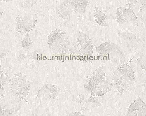 Transparant bladmotief licht grijs