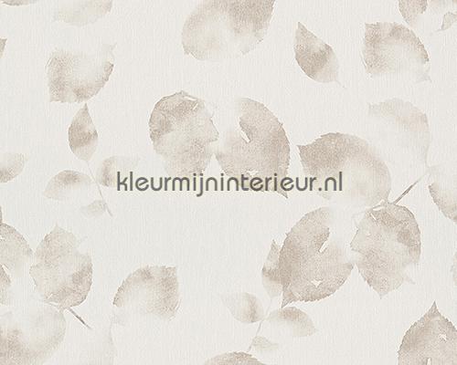 Transparant bladmotief licht beige behang 93746-3 aanbieding behang AS Creation