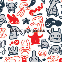 Doodles red papel pintado Noordwand Little Ones 42036