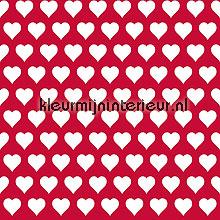 Witte hartjes op rood papier peint Esta home Wallpaper creations