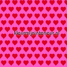 Rode hartjes op roze behang Esta home Love 136815