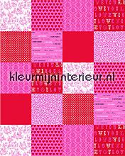 patchwork pink behang Esta home Love 156807