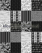 patchwork black behang Esta home Love 156809