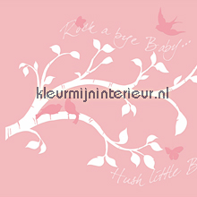 Witte tak met roze vogels sticker autocolantes decoracao York Wallcoverings Bebês Crianças