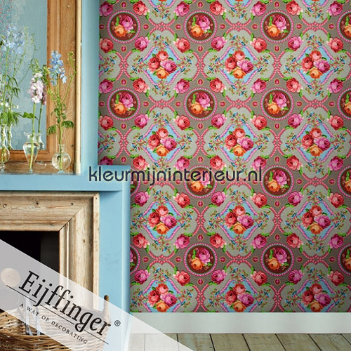 Singing Roses khaki fotobehang 313113 PiP studio wallpaper Eijffinger