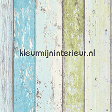 Sloophout turquoise-groen tapeten AS Creation Best of Wood and Stone 8550-77