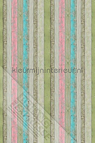 Ruw hout vrolijk gekleurd fotobehang ML222 Behang Expresse