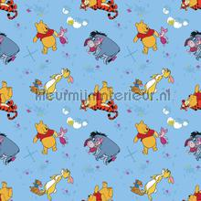Winnie the pooh on bleu behang Dutch Wallcoverings Baby Peuter