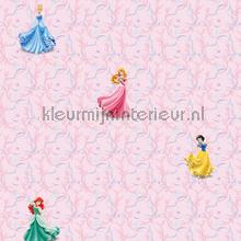 Princess pink background wallcovering Dutch Wallcoverings girls