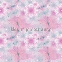 Fairies pink flower background wallcovering Dutch Wallcoverings girls