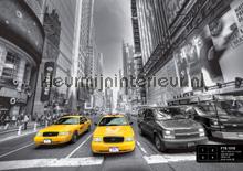 Gele taxi in zwart-witte stad fotomurales AG Design AG Design FTS-1310