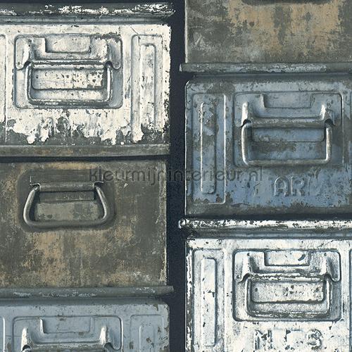 Metalen kistjes grijstinten behang 306751 aanbieding behang AS Creation