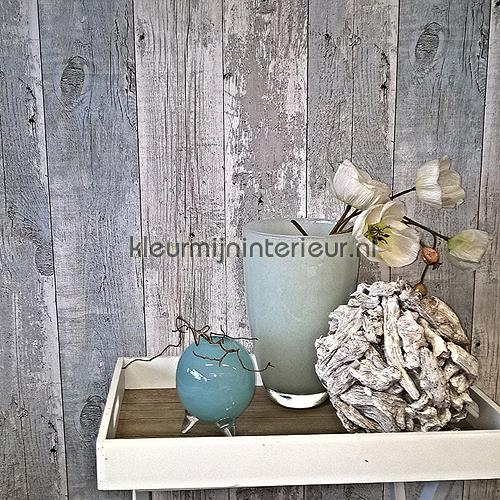 Oud hout grijs-turquoise behang Z68616 behang Top 15 Noordwand