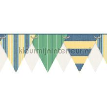 Stripes pennant border green behang Eijffinger randen