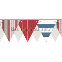 Stripes pennant border red behang Eijffinger randen