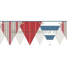 Stripes pennant border red tapet Eijffinger kanter