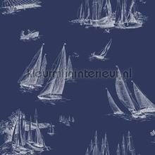 Sailboat toile blue behang Eijffinger randen