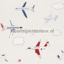 Vliegtuigen rood blauw behang Rasch jongens