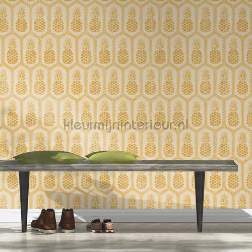Ananas patroon behang 862102 BB Home Passion Rasch