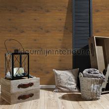 Bruine planken met noesten behang AS Creation hout