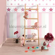3 kleuren streep behang roze Rasch Bimbaloo 2 330280