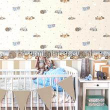 3 kleuren streep behang maisgeel Rasch Baby Peuter