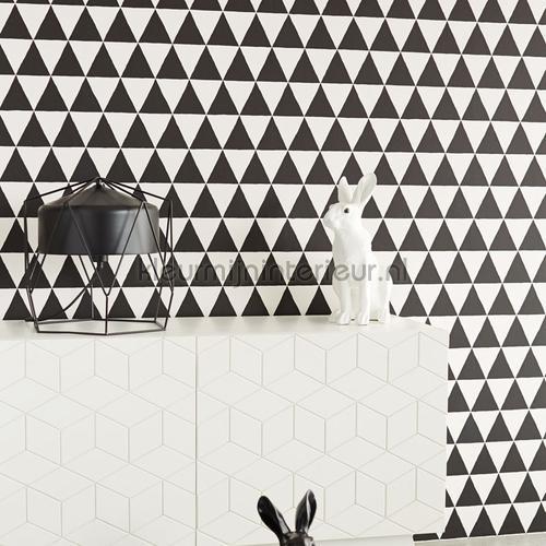 driehoekjes behang zwart wit