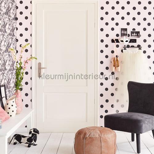 Licht roze behang met zwarte stippen 356061 behang Black and Light van ...