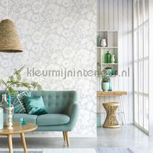 Frisse bloemen zachtblauw behang Eijffinger romantisch modern