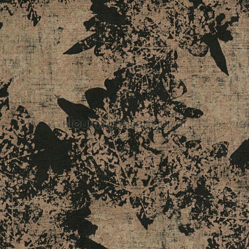 Kastanje bladmotief brons zwart behang 322641 behang Top 15 AS Creation