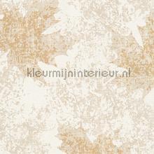 Kastanje bladmotief wit brons tapeten AS Creation Borneo 322644