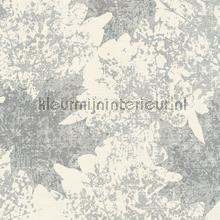 Kastanje bladmotief zilver wit tapeten AS Creation Borneo 322645