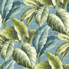 Gatenplant groen blauw behang Dutch Wallcoverings behang
