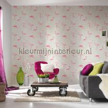 Flamingos in het wit gebladerte wallcovering 35980-1 girls AS Creation