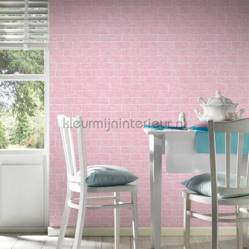 Roze bakstenen met relief wallcovering 35981-2 girls AS Creation