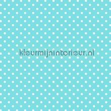 Turquoise met witte stippen behang Esta home meisjes