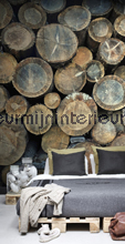 Mural wood logs fotomurales Esta home Brooklyn Bridge 158206