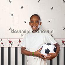 Voetbal strepen behang Dutch Wallcoverings jongens