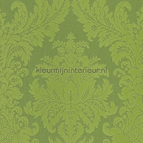 Textiele damask grasgroen behang 077215 Cassata Rasch