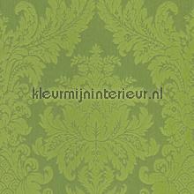 Textiele damask grasgroen behang Rasch Cassata 077215