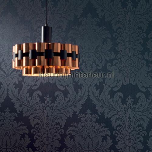 Textiele damask grijsblauw behang 077222 Cassata Rasch