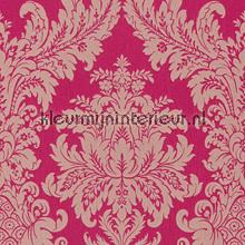Textiele damask fuchsia roze behang Rasch Cassata 077239