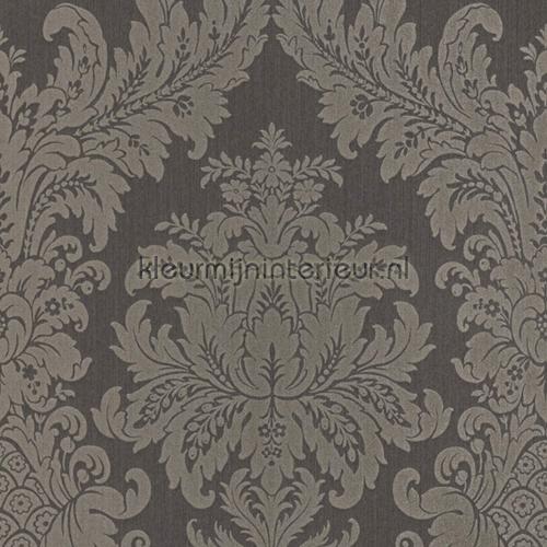 Textiele damask antraciet behang 077246 Cassata Rasch