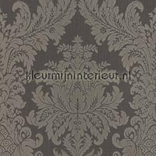 Textiele damask antraciet behang Rasch Cassata 077246