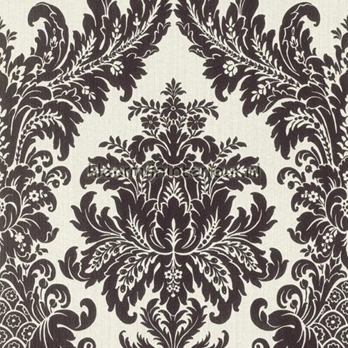 Textiele damask wit-zwart behang 077253 Cassata Rasch