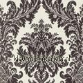 Textiele damask wit-zwart Cassata rasch