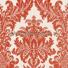 Textiele damask donker oranje behang Rasch Cassata 077260